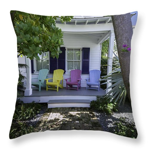 Key West Throw Pillow featuring the photograph Key West Chairs by Paul Plaine