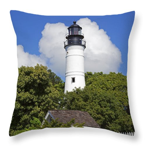 Key West Throw Pillow featuring the photograph Key West Lighthouse by John Stephens