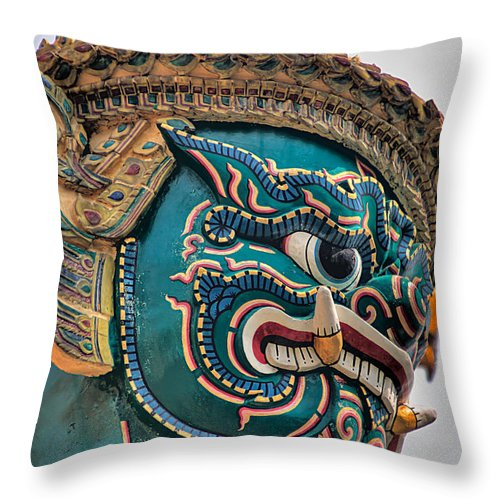 3scape Throw Pillow featuring the photograph Khmer Guard by Adam Romanowicz