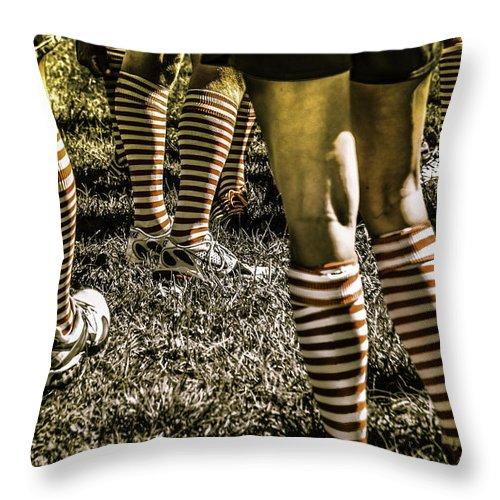 Stonewall Kickball Throw Pillow featuring the photograph Kickball Socks by John Jack