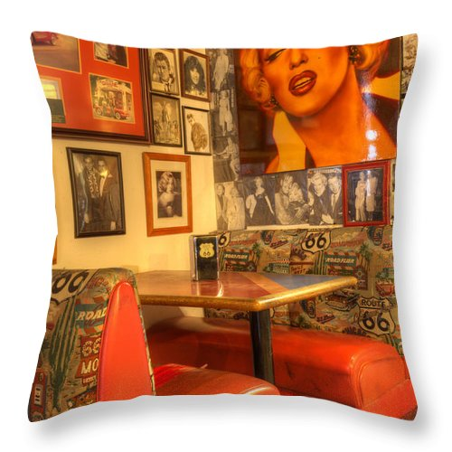 Tourist Spots Throw Pillow featuring the photograph Kicking On Route 66 by Bob Christopher
