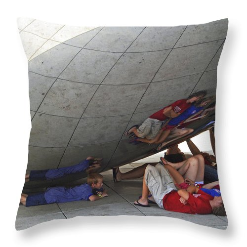 Kids Throw Pillow featuring the photograph Kids At The Bean by Rick Selin
