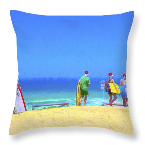 Children In Santa Hats Throw Pillow featuring the photograph Kids in santa hats at beach by Sheila Smart Fine Art Photography