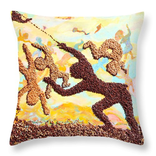 Kids Throw Pillow featuring the painting Kids kites Kartwheels and Healthy Living by Naomi Gerrard