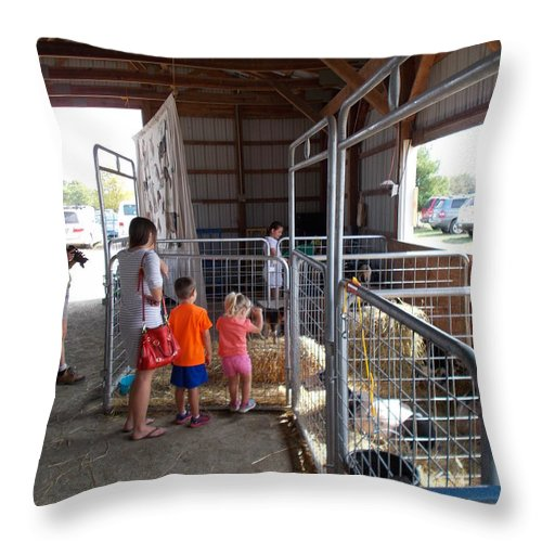 Livestock Throw Pillow featuring the photograph Kids N Kids by Mark Victors