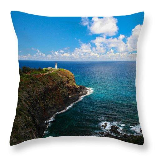 Kilauea Throw Pillow featuring the photograph Kilauea Lighthouse by SnapHound Photography