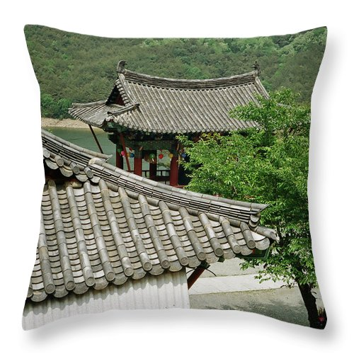 Tranquility Throw Pillow featuring the photograph Kimchi Pots, Tiles And Lanterns by Mimyofoto - Serge Lebrun