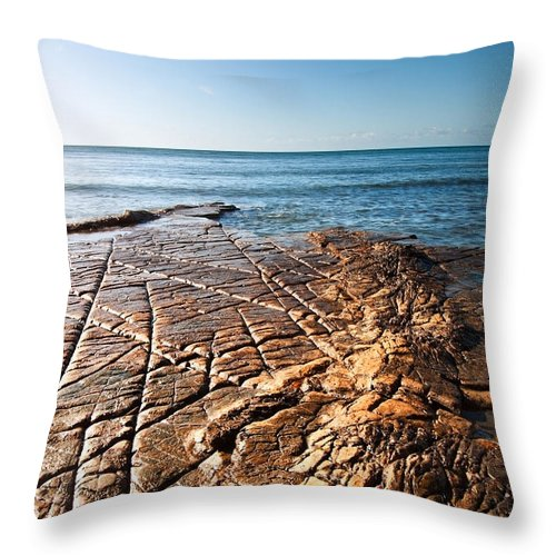 Kimmeridge Throw Pillow featuring the photograph Kimmeridge Bay Seascape by Matthew Gibson