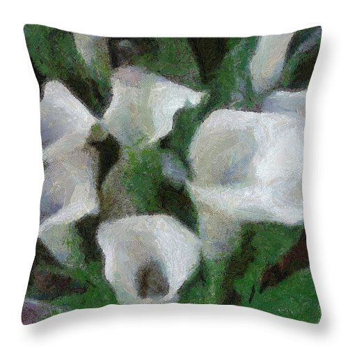 Bloom Throw Pillow featuring the painting Kim's Flowers by Jeffrey Kolker