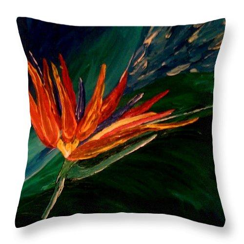 Flower Throw Pillow featuring the painting Kims Paradise by Kim Derington - Tillman