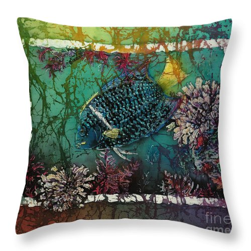 King Angelfish Throw Pillow featuring the painting King Angelfish by Sue Duda