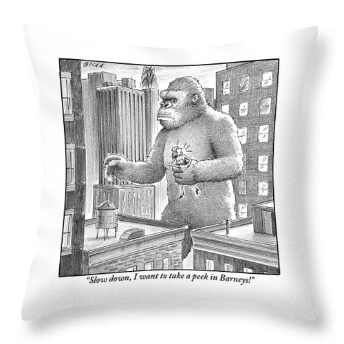King Throw Pillow featuring the drawing King Kong Stands In A Large City by Harry Bliss
