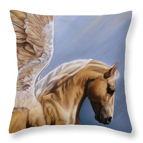 Pegasus Throw Pillow featuring the pastel King Midas by Kim McElroy