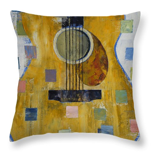 King Throw Pillow featuring the painting King Of Guitars by Michael Creese