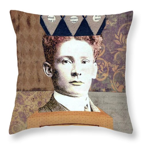 Brown Throw Pillow featuring the mixed media King Of My Own Destiny by Desiree Paquette