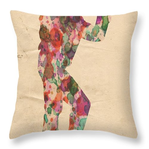 Michael Jackson Throw Pillow featuring the painting King Of Pop In Concert No 12 by Florian Rodarte