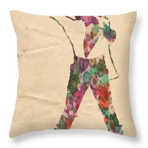 Michael Jackson Throw Pillow featuring the painting King Of Pop In Concert No 2 by Florian Rodarte