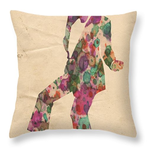 Michael Jackson Throw Pillow featuring the painting King Of Pop In Concert No 5 by Florian Rodarte