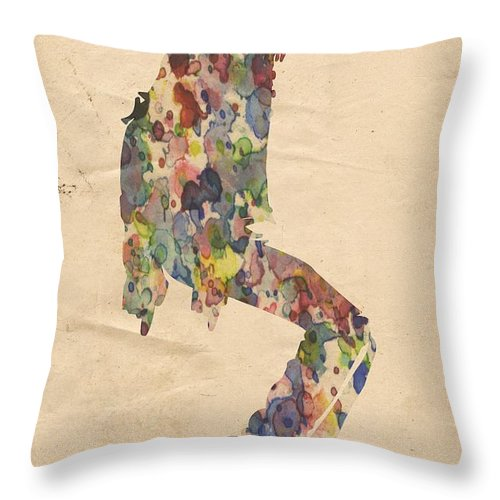 Michael Jackson Throw Pillow featuring the painting King Of Pop In Concert No 9 by Florian Rodarte