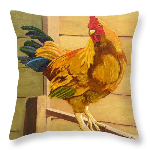 Rooster Throw Pillow featuring the painting King Of The Roost by Anthony Dunphy