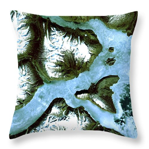 Satellite Image; Map; Environment; Water; Ice; Mountain; Snow; Fjord; Arctic Ocean; Greenland Throw Pillow featuring the photograph King Oscar Fjord Greenland by Anonymous