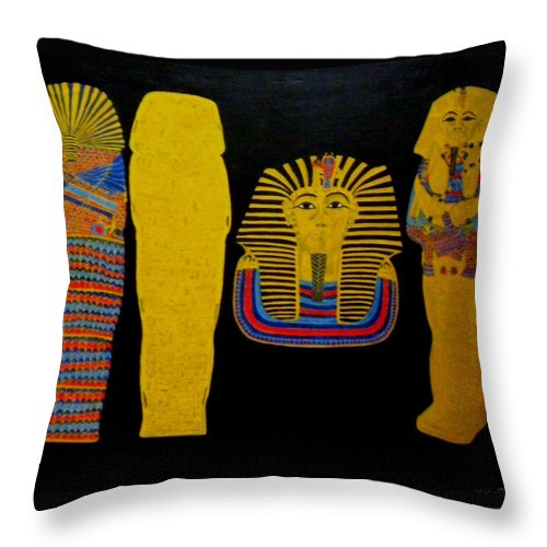 Egypt Throw Pillow featuring the painting King Tut by Leslye Miller
