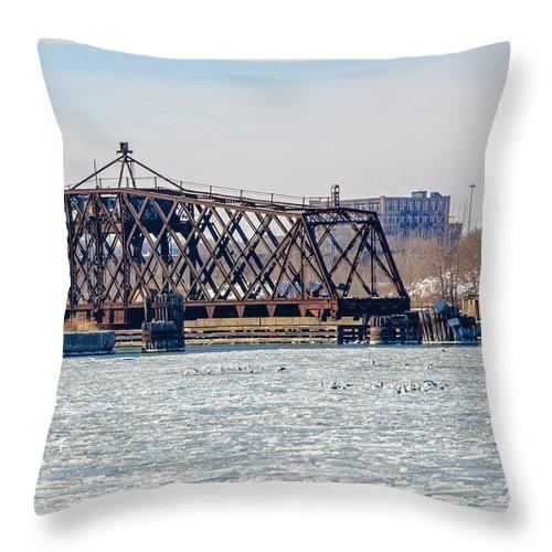 Bridge Throw Pillow featuring the photograph Kinnickinnic River Swing Bridge by Susan McMenamin