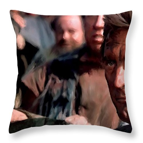Spartacus Throw Pillow featuring the digital art Kirk Douglas and Tony Curtis in the film Spartacus by Gabriel T Toro