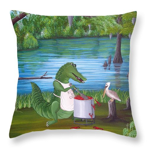 Alligator Throw Pillow featuring the painting Kiss Da Cook by Valerie Carpenter