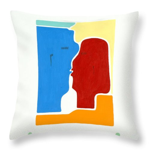 Kiss - Love - Forever - Valentine - Valentine\'s Day - Anniversary - Engagement - Marriage - Soulmates - Aura Of Two Lovers - Love Meditation - Tender Love - Eternity Embrace - Man And Woman - Gaga For Love - Amour Gaga - Twilight Spirits - Twilight Throw Pillow featuring the painting Kiss by Elle Nicolai