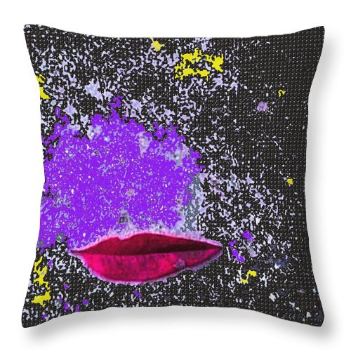 Leaf Throw Pillow featuring the mixed media Kiss Me In Space by Piety Dsilva