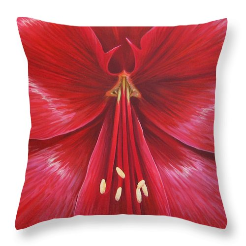 Botanical; Flower Throw Pillow featuring the painting Kiss Of Life by Hunter Jay
