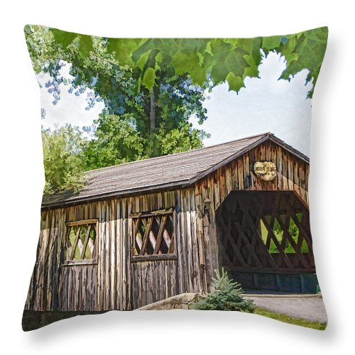 Bridge Throw Pillow featuring the photograph Kissing Bridge by Ray Summers Photography