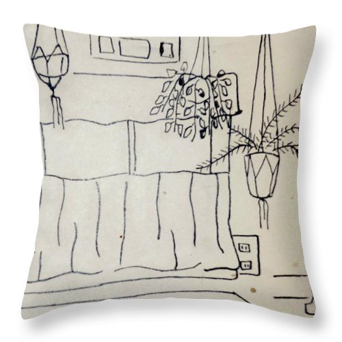 Plants Throw Pillow featuring the drawing Kitchen by Erika Chamberlin