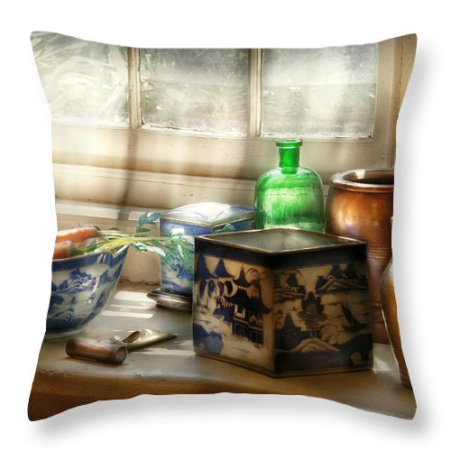 Chef Throw Pillow featuring the photograph Kitchen - In A Kitchen Window by Mike Savad