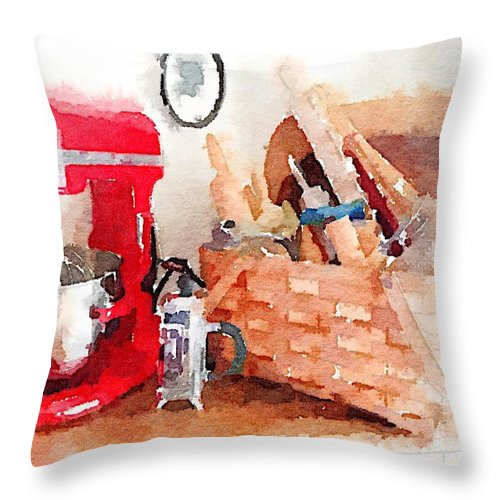 Waterlogue Throw Pillow featuring the digital art Kitchen Vignette by Shannon Grissom
