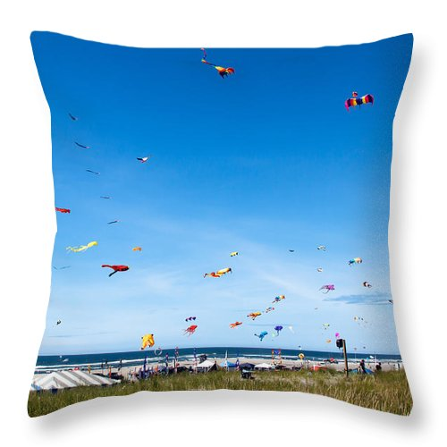 Kites Throw Pillow featuring the photograph Kite Festial by Robert Bales