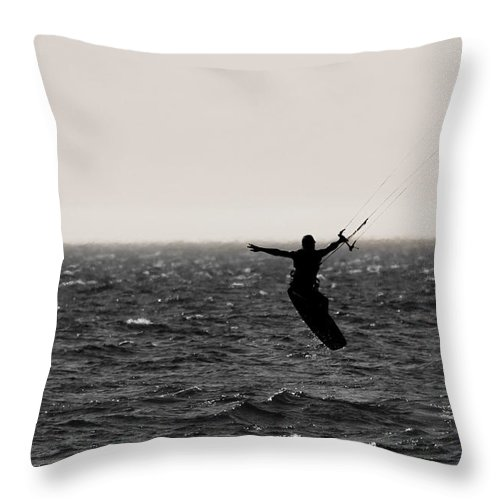 Kitesurfing Lake Michigan Throw Pillow featuring the photograph Kite Surfing Pose by Dan Sproul