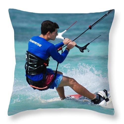 Kiteboard Throw Pillow featuring the photograph Kiteboarder by DejaVu Designs