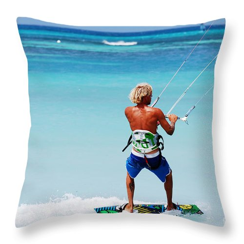 Kiteboard Throw Pillow featuring the photograph Kitesurfer by DejaVu Designs