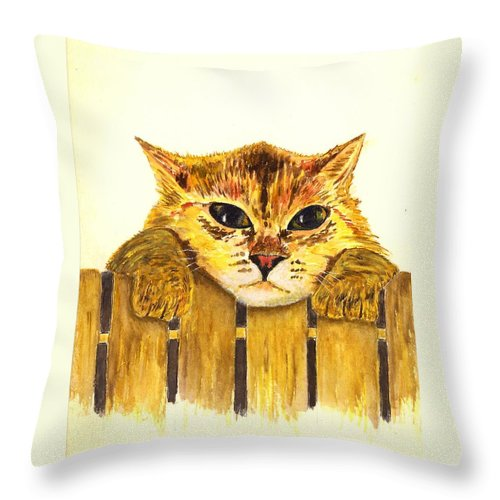 Cat Throw Pillow featuring the painting Kitten On Fence by Michael Vigliotti