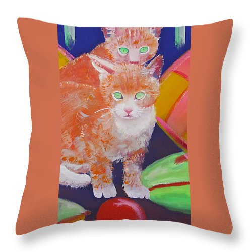 Kittens Throw Pillow featuring the painting kittens With A Ball of Wool by Charles Stuart