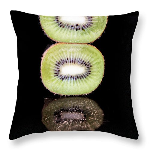 Abstract Throw Pillow featuring the photograph Kiwi On Black by Brian Raggatt