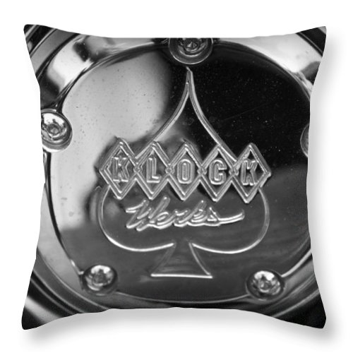 Chrome Throw Pillow featuring the photograph Klock by Laurie Perry