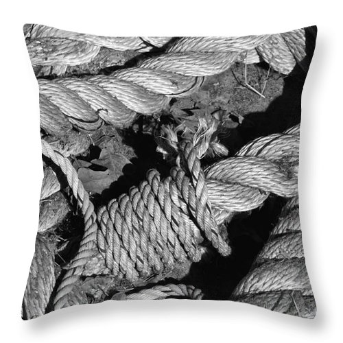 Schulenburg Texas Rope Ropes Knot Knots Texture Odds And Ends Throw Pillow featuring the photograph Knotted 2 by Bob Phillips