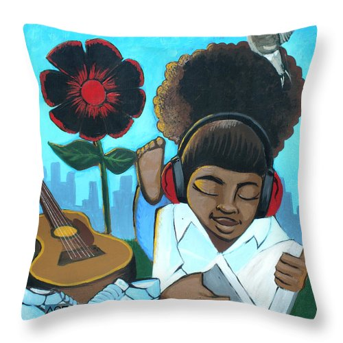 Knowledge Throw Pillow featuring the painting Knowledge 2 by Boze Riley