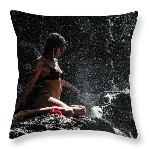 Mauritius Throw Pillow featuring the photograph Knowledge. Anna At Eureka Waterfalls. Mauritius by Jenny Rainbow