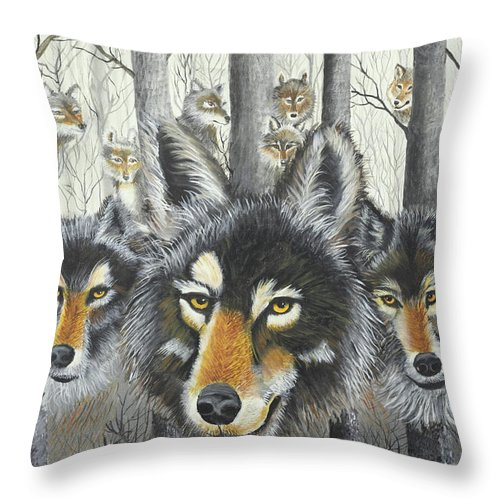 Wolves Throw Pillow featuring the painting Knoxville Wolves by Terry Lewey