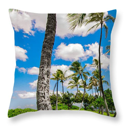 Palm Tree Throw Pillow featuring the photograph Ko Olina Leaning Palm 3 To 1 Aspect Ratio by Aloha Art