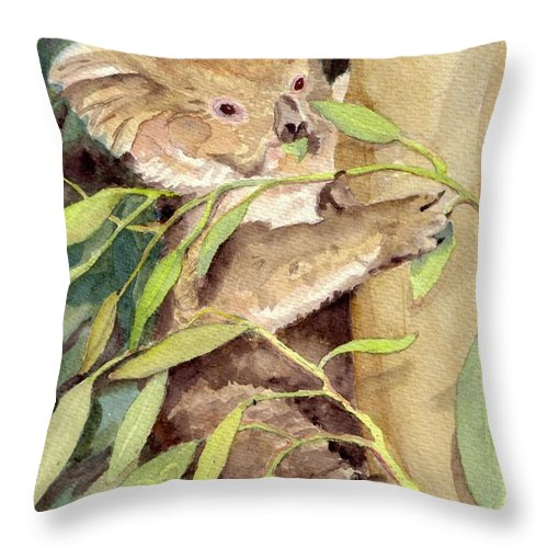 Koala Throw Pillow featuring the painting Koala Bear by Christine Burn